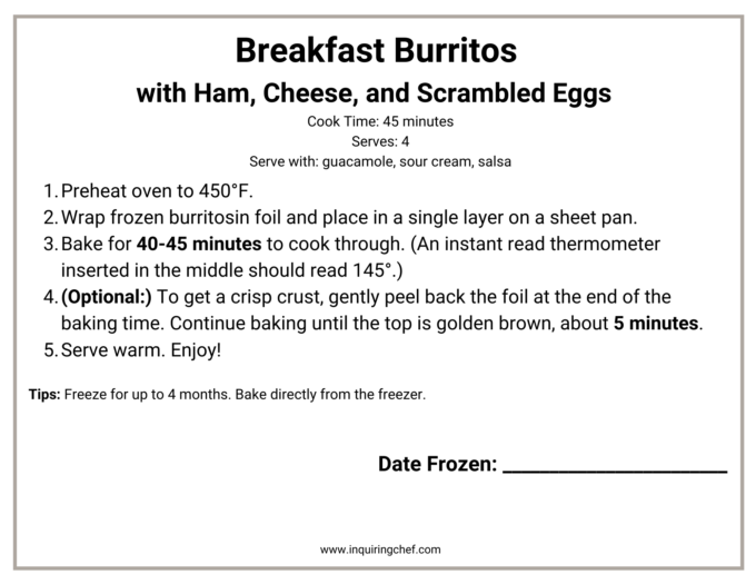breakfast burritos freezer label