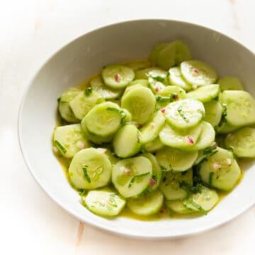 cucumbers in a white bowl
