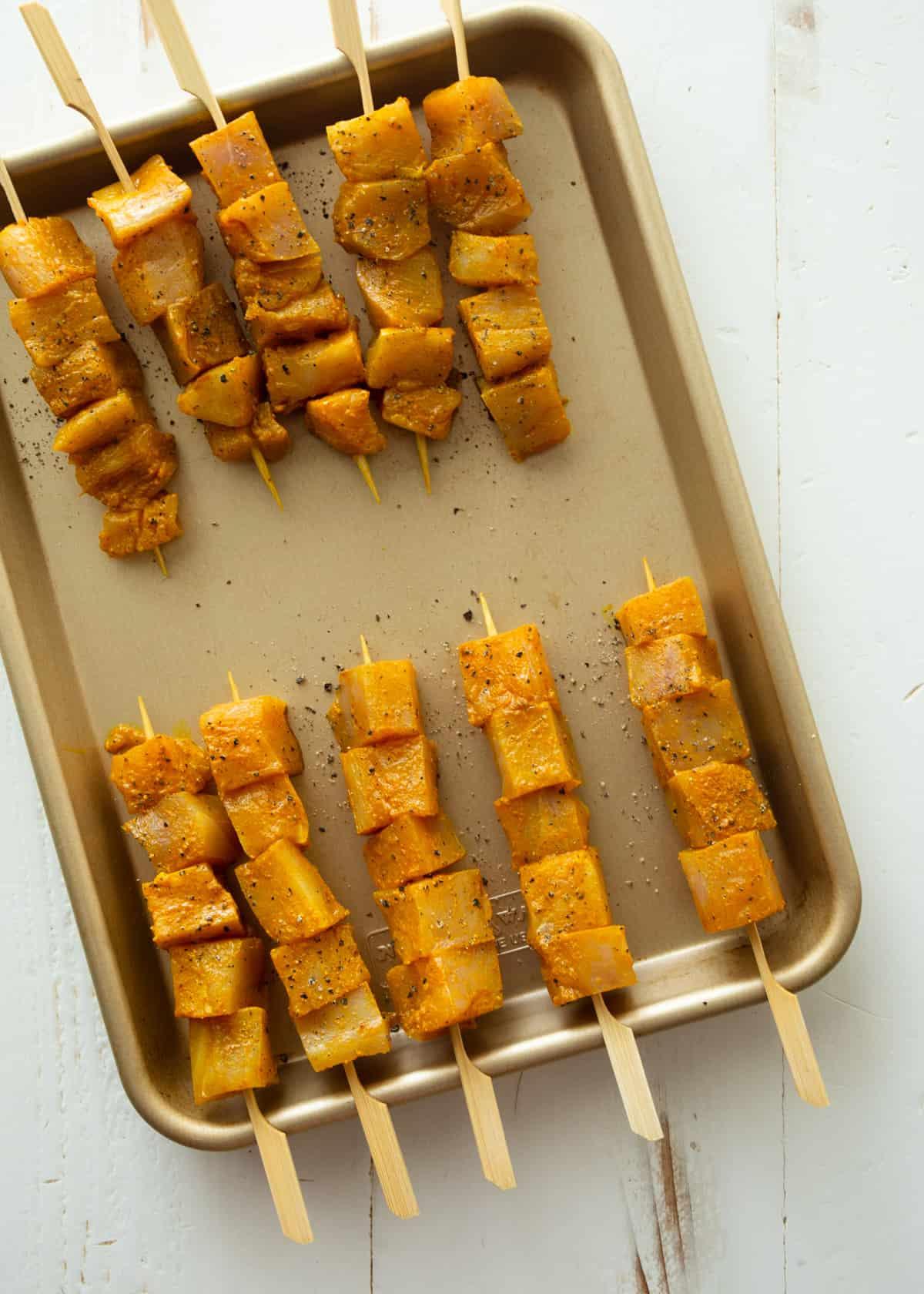 skewers on a sheet pan