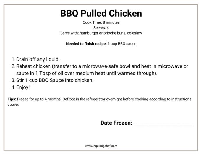 bbq pulled chicken freezer label