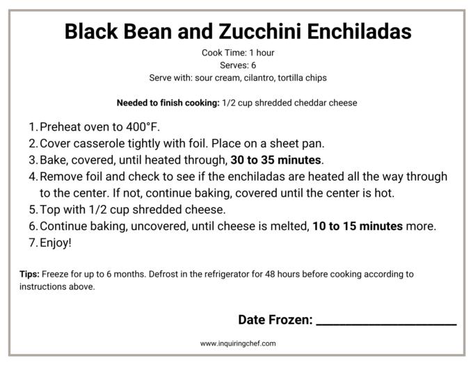 black bean and zucchini enchiladas freezer label