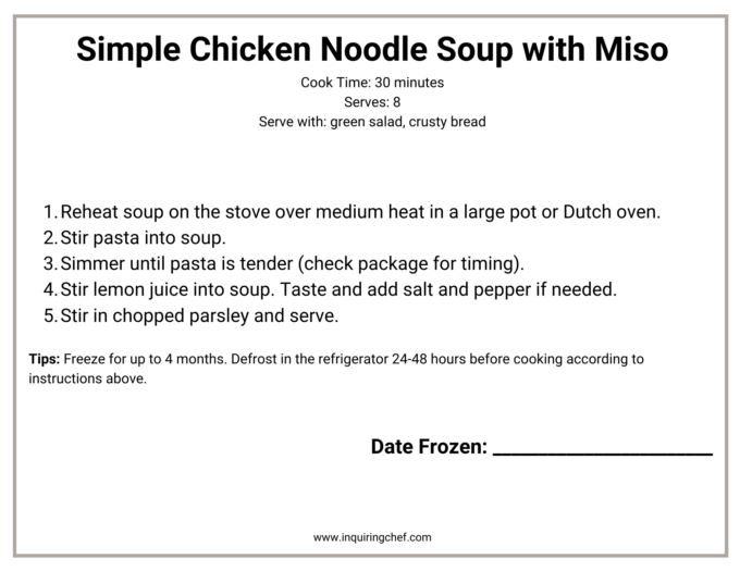 simple chicken noodle soup with miso