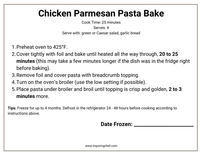 chicken parmesan pasta bake freezer label