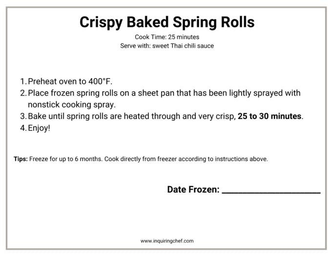baked spring rolls freezer label