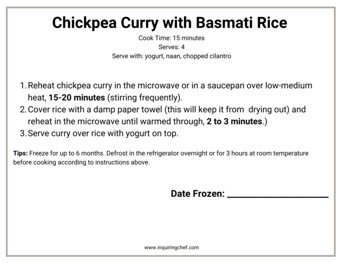 chickpea curry with basmati rice freezer label
