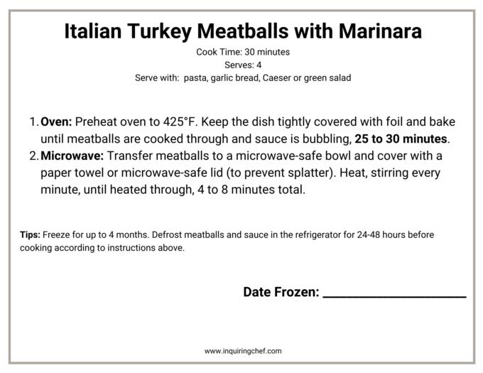 Italian Turkey Meatballs in marinara sauce