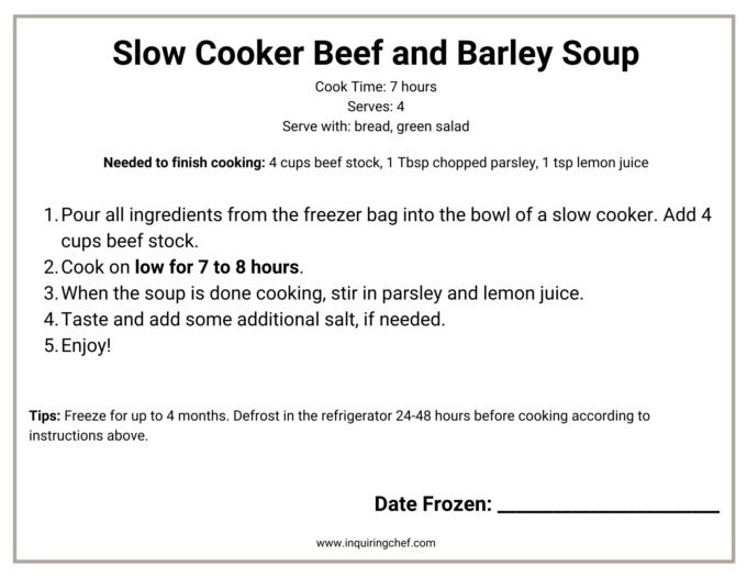 beef and barley soup freezer label