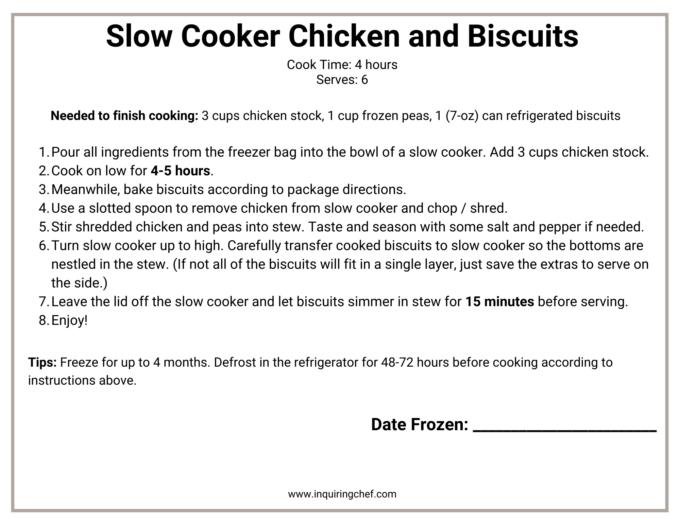 chicken and biscuits freezer label