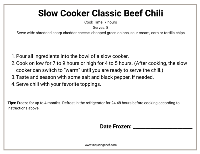 slow cooker classic beef chili