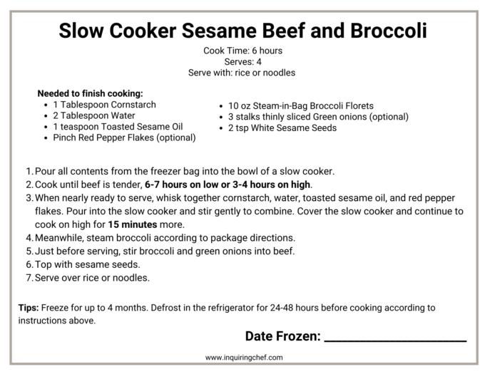 beef and broccoli freezer label