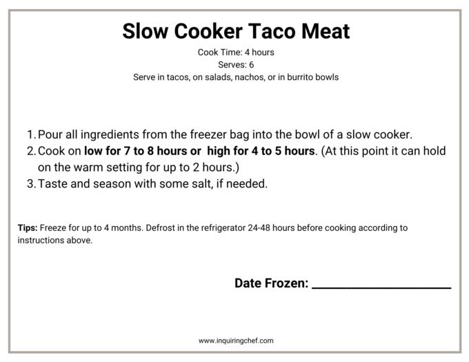taco meat freezer label