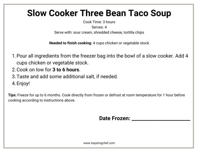 three bean taco soup freezer label