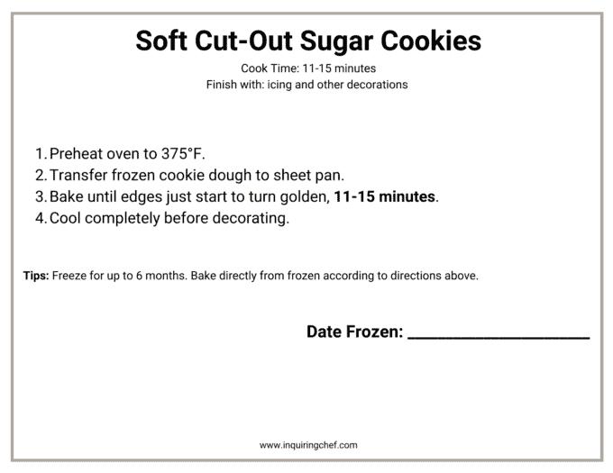 soft cut out sugar cookies freezer label