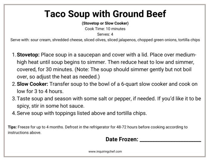 taco soup freezer label