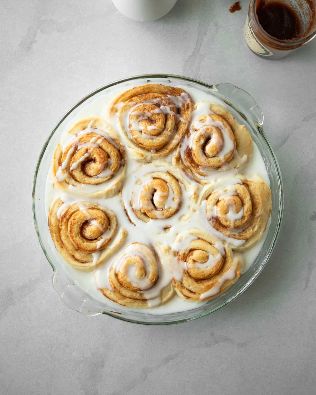 cinnamon rolls in a clear baking dish