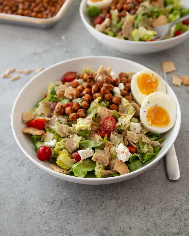 fattoush salad in a white bowl