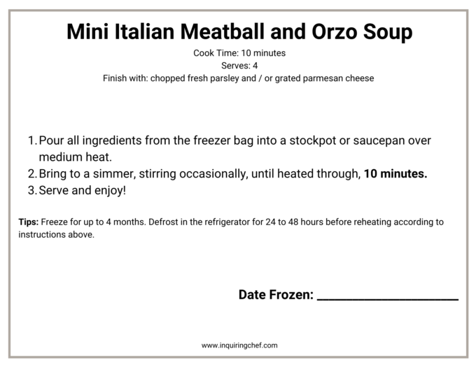 mini italian meatball and orzo soup freezer label