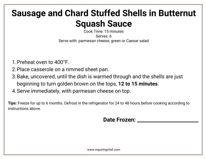 stuffed shells freezer label