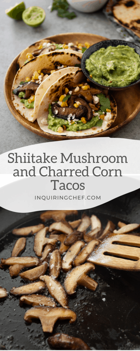 mushroom and corn vegetarian tacos