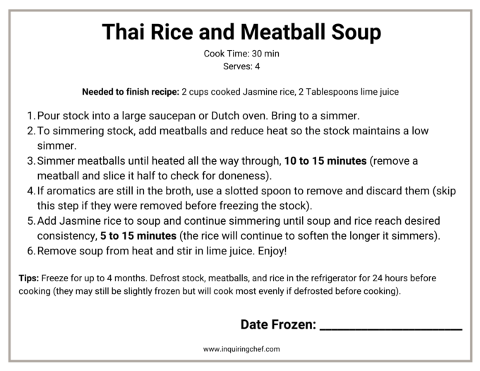thai rice and meatball soup freezer label