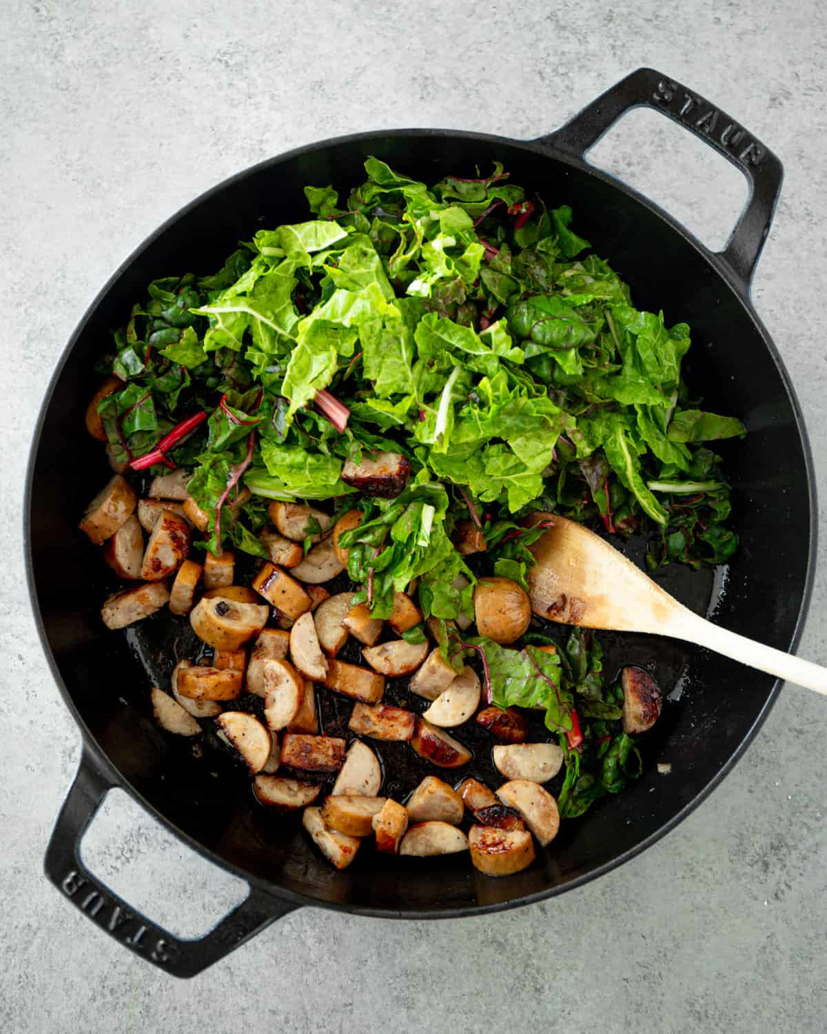 adding chard to hash in a cast iron skillet