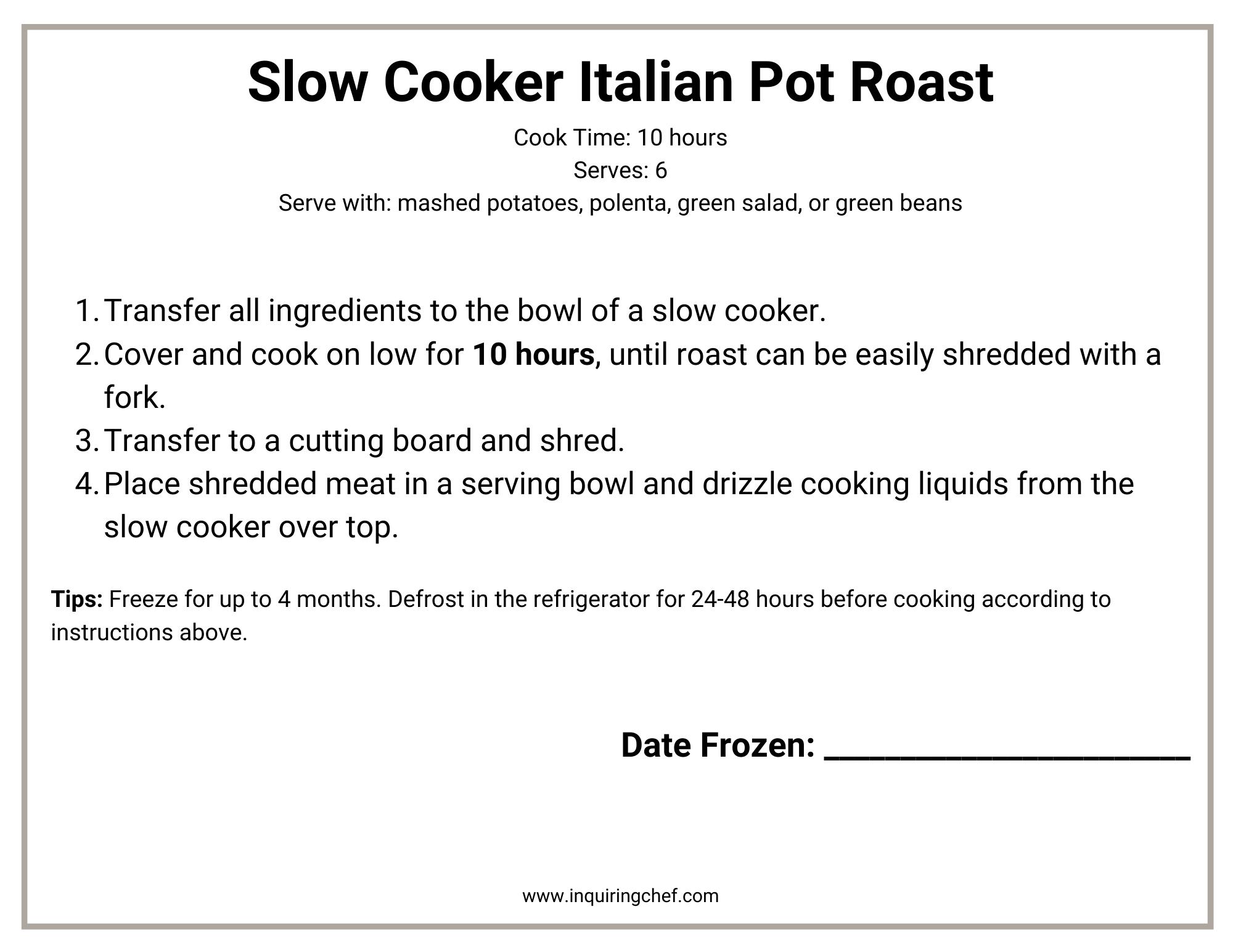 slow cooker italian pot roast freezer label